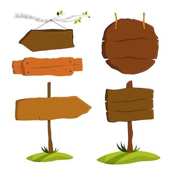 Conjunto de quadro indicador de madeira. coleção de vários signos Vetor Premium