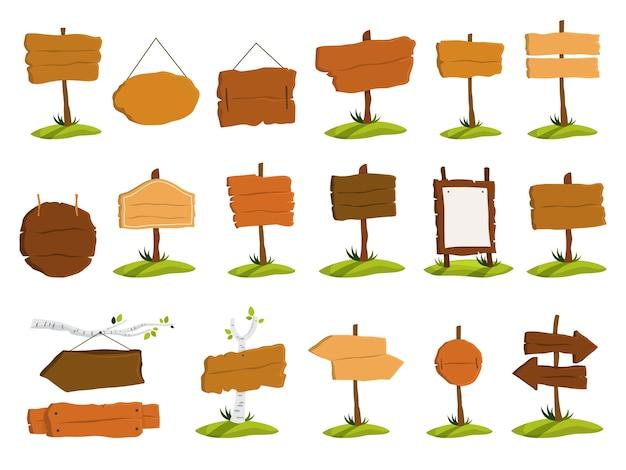 Conjunto de quadro indicador de madeira. coleção de vários signos