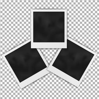 Conjunto de quadro polaroid em moldura fotográfica em branco realista isolado no fundo transparente.