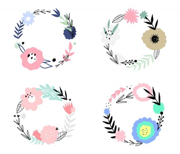 Conjunto de quadros abstratos florais. mão desenhada, plantas doodle