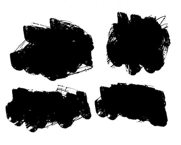 Conjunto de quadros abstratos grunge preto de quatro