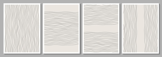 Conjunto de quadros abstratos minimalistas geométricos