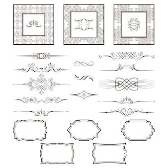 Conjunto de quadros antigos e divisores.