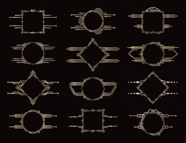 Conjunto de quadros. bordas geométricas douradas. elementos de decoração antiga vintage. elemento decorativo padrão. conjunto de molduras elegantes.