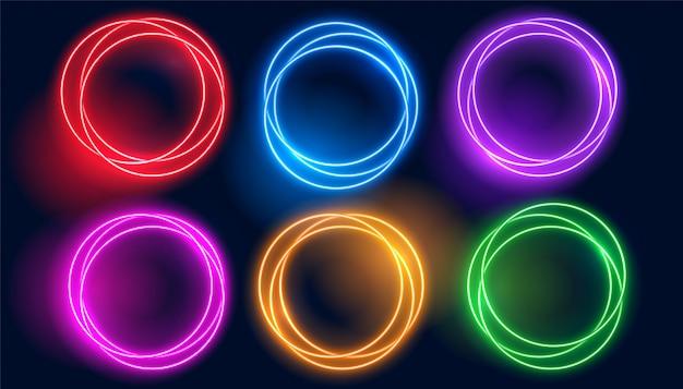 Conjunto de quadros brilhantes de círculo de néon colorido
