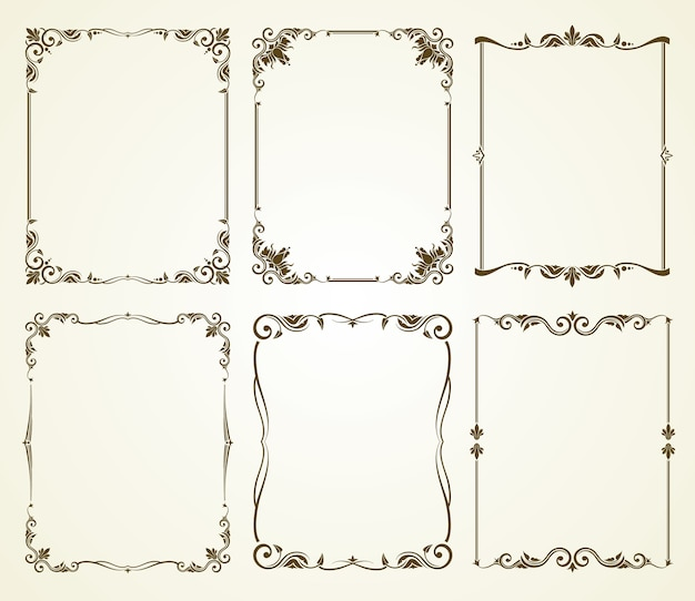 Conjunto de quadros caligráficos vintage de vetor
