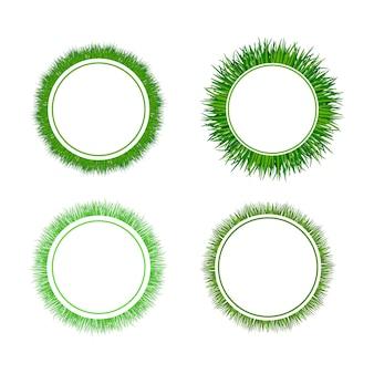 Conjunto de quadros circulares de grama verde