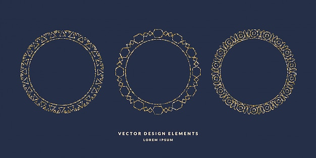 Conjunto de quadros circulares geométricos modernos para texto de glitter dourados sobre um fundo escuro. ilustração