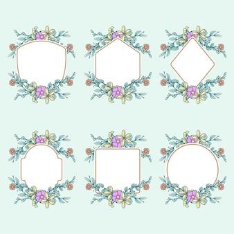 Conjunto de quadros com flores, linha de mão desenhada com cores digitais
