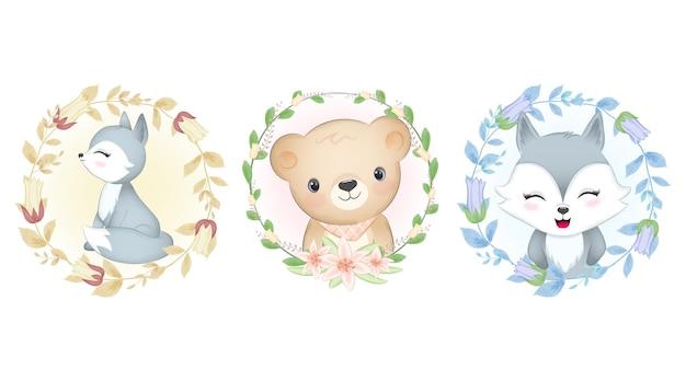Conjunto de quadros de animais fofos e flora