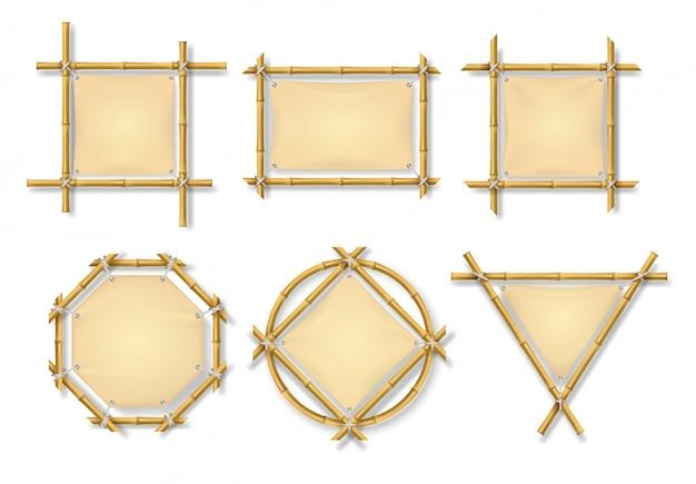 Conjunto de quadros de bambu
