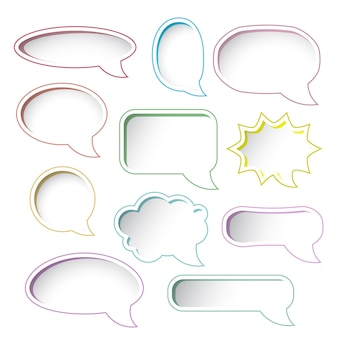 Conjunto de quadros de bolha do discurso colorido. ilustração vetorial