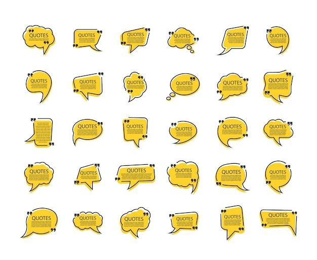 Conjunto de quadros de caixa de cotação cita texto de balão de fala entre aspas Vetor Premium