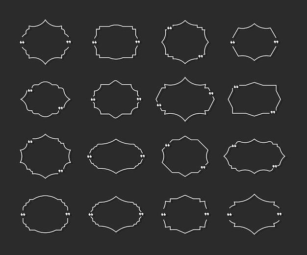 Conjunto de quadros de caixa de cotação cita texto de balão de fala entre aspas