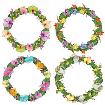 Conjunto de quadros de círculo de orquídeas e elementos florais.