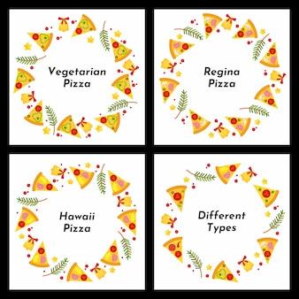 Conjunto de quadros de círculo. diferentes tipos de pizza de natal.