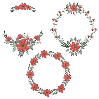 Conjunto de quadros de círculo floral
