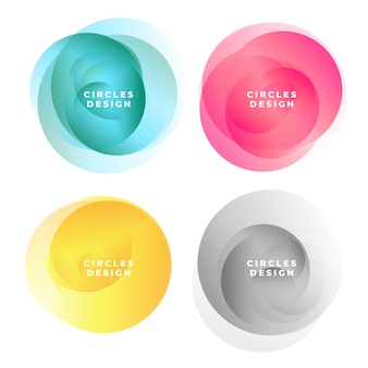 Conjunto de quadros de círculos abstratos coloridos
