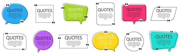 Conjunto de quadros de citação. balões de fala com aspas, isoladas no fundo branco. caixa de texto em branco e citações. modelo de postagem do blog. ilustração vetorial.