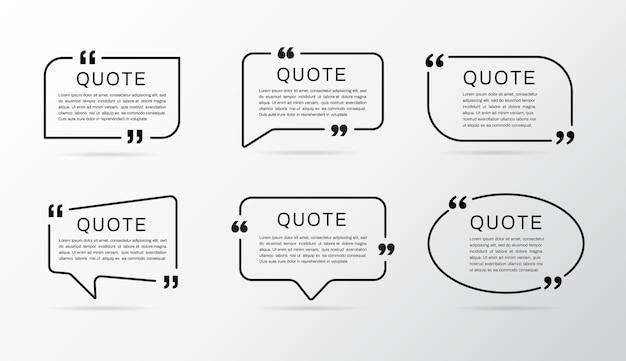 Conjunto de quadros de citação. caixa de cotação.
