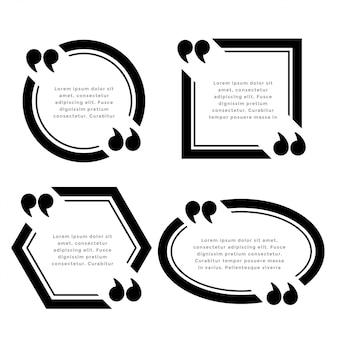 Conjunto de quadros de citação de linhas em negrito de quatro