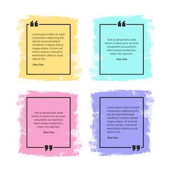 Conjunto de quadros de citação, vibrante, colorido e estilo grunge