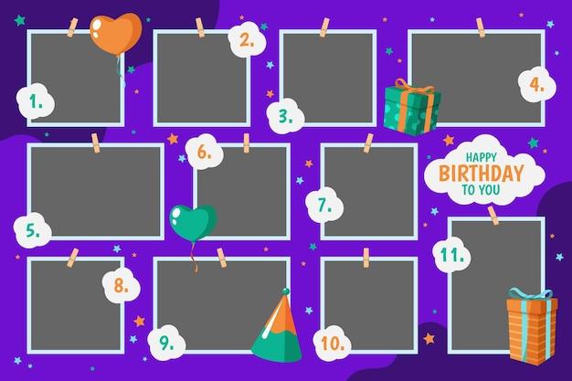 Conjunto de quadros de colagem de aniversário de design plano