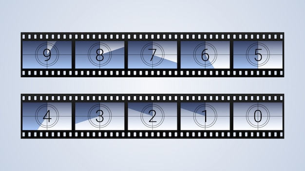 Conjunto de quadros de contagem regressiva de filme