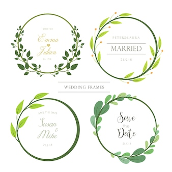 Conjunto de quadros de convite de casamento