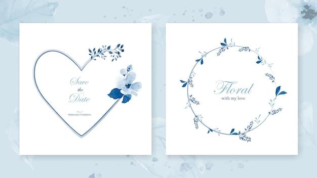 Conjunto de quadros de coração de cartões e uma coroa de flores decorada com um buquê de flores de lindas folhas azuis em aquarela.