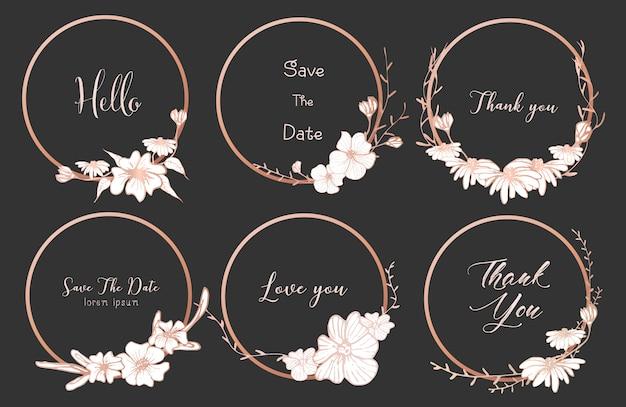 Conjunto de quadros de divisores redondos, flores de mão desenhada.