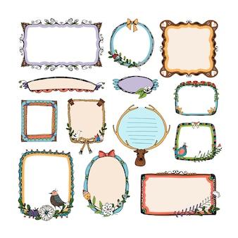 Conjunto de quadros de doodle coloridos
