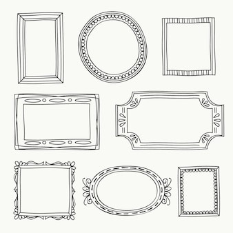 Conjunto de quadros de doodle ornamental desenhado à mão