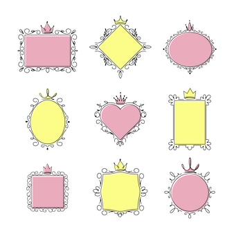 Conjunto de quadros de espelho princesa