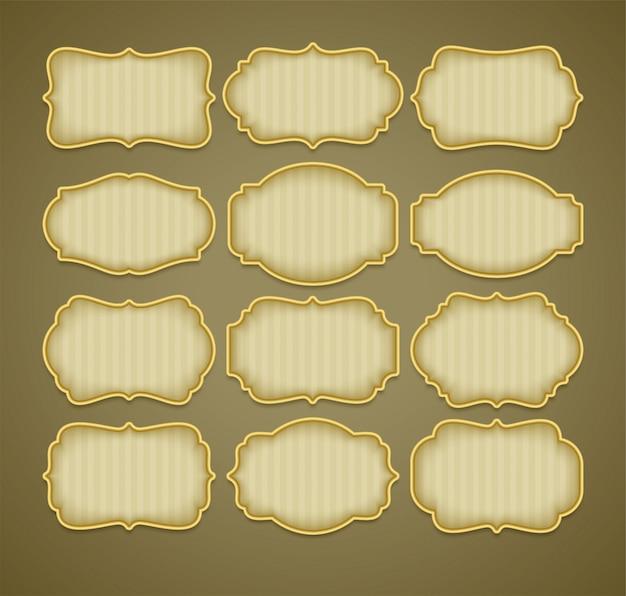 Conjunto de quadros de etiqueta ouro vintage.