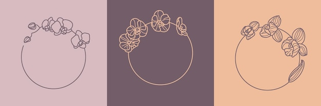 Conjunto de quadros de flores de orquídea e conceito de monograma em estilo linear mínimo. logotipo floral vetor com espaço de cópia para carta ou texto. selo para cosméticos, medicamentos, alimentos, moda, beleza