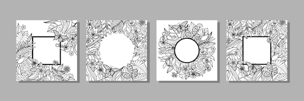 Conjunto de quadros de flores e plantas tropicais