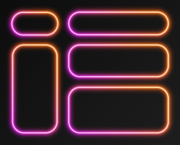 Conjunto de quadros de gradiente de néon, coleção de bordas de retângulo arredondado brilhante rosa-laranja isoladas em um fundo escuro. banners coloridos à noite, formas iluminadas brilhantes, efeito de luz de estilo retro.