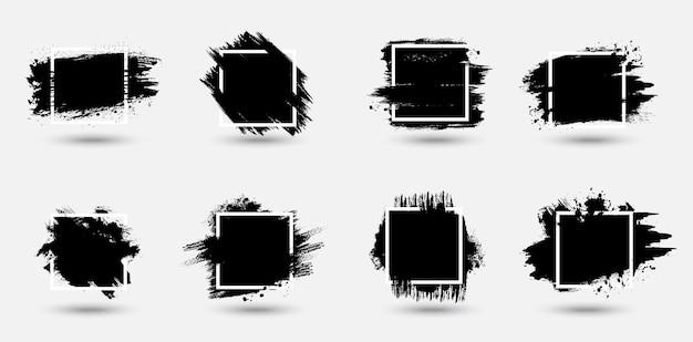 Conjunto de quadros de grunge, fundos de textura de traços de tinta