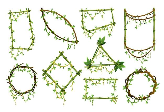 Conjunto de quadros de liana tropical, galhos de plantas de selva com folhas. cipó de escalada tropical com folhas verdes. molduras de lianas de desenhos animados em forma. ramos de liana