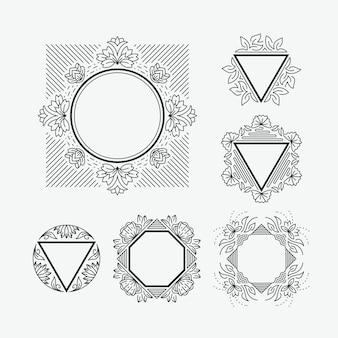 Conjunto de quadros de linha com elementos florais e geométricos.