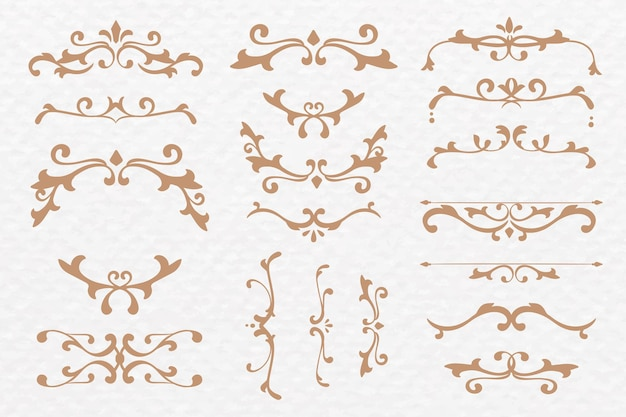 Conjunto de quadros de luxo ornamentos de bronze vetor florido