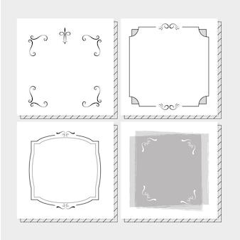 Conjunto de quadros de mão desenhar em cores preto e brancas