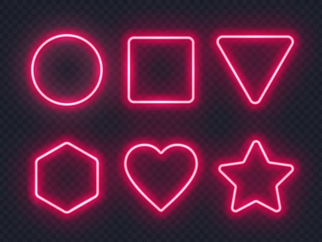 Conjunto de quadros de néon brilhante vermelho