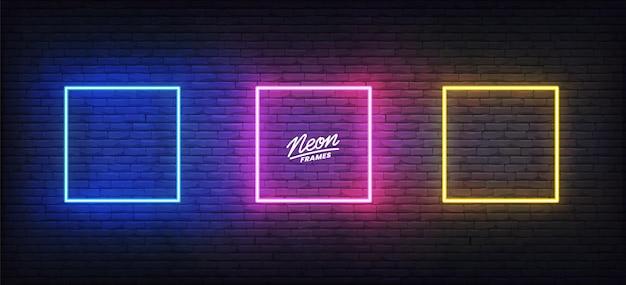 Conjunto de quadros de néon. conjunto de modelos quadrados brilhantes coloridos.