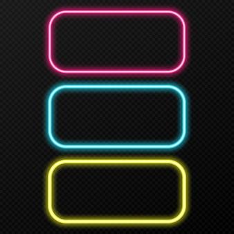 Conjunto de quadros de néon de cores diferentes. diferentes cores de luz neon png. neon, moldura png. molduras para texto. luzes de neon. imagem.