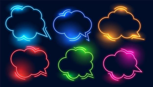 Conjunto de quadros de néon estilo nuvem de bate-papo