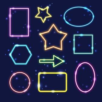 Conjunto de quadros de neon geométricos