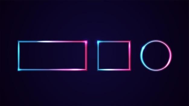 Conjunto de quadros de néon gradiente de linha geométrica isolado para suas artes. moldura rosa e azul com espaço de cópia