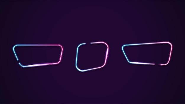 Conjunto de quadros de néon gradiente geométrico assimétrico isolado para suas artes. molduras rosa e azul com espaço de cópia